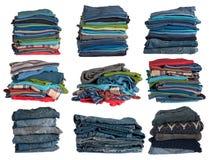 Pilhas da roupa Fotografia de Stock