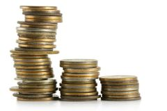 Pilhas das moedas Fotos de Stock