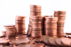 Pilhas das moedas foto de stock