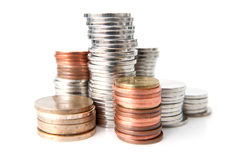 Pilhas das moedas imagem de stock