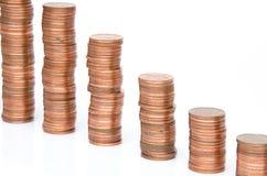 Pilhas das moedas de cobre Foto de Stock