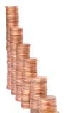 Pilhas das moedas de cobre Fotos de Stock Royalty Free