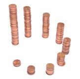 Pilhas das moedas de cobre Imagens de Stock