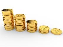 Pilhas das moedas de ouro Fotografia de Stock Royalty Free