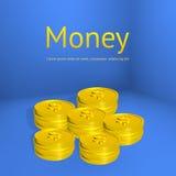 Pilhas das moedas de ouro, molde do negócio para o projeto Imagem de Stock
