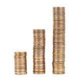 Pilhas das moedas de prata e douradas isoladas Fotografia de Stock