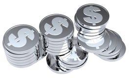Pilhas das moedas de prata isoladas no branco Fotografia de Stock