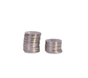 Pilhas das moedas ucranianas de prata Fotografia de Stock Royalty Free
