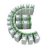 Pilhas de 100 cédulas do Euro Fotografia de Stock