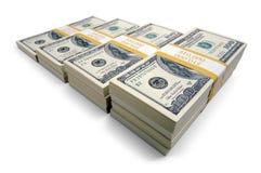 Pilhas de cem contas de dólar Imagens de Stock