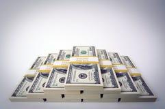 Pilhas de cem contas de dólar Fotografia de Stock Royalty Free