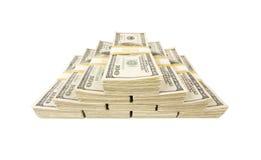 Pilhas de cem contas de dólar no branco Imagens de Stock Royalty Free