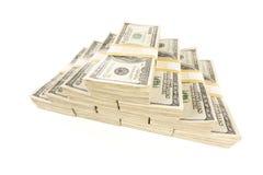 Pilhas de cem contas de dólar no branco Fotografia de Stock
