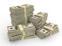 Pilhas de cem dólares americanos Fotos de Stock Royalty Free