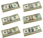 Pilhas de contas do dólar americano Fotos de Stock Royalty Free