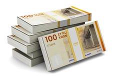 Pilhas de 100 coroas dinamarquesas Fotografia de Stock Royalty Free