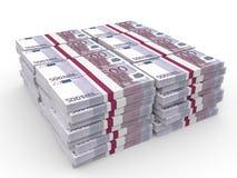 Pilhas de dinheiro Cinco cem euro Fotografia de Stock Royalty Free