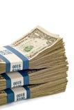 Pilhas de dinheiro com espaço da cópia Foto de Stock Royalty Free