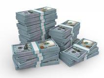Pilhas de dinheiro Novo cem dólares Fotografia de Stock