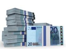 Pilhas de dinheiro Vinte euro Fotos de Stock