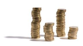 Pilhas de euro- moedas Fotografia de Stock