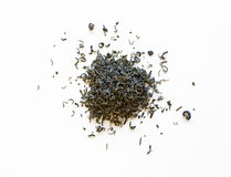 Pilhas de folhas de chá verdes derramadas Foto de Stock Royalty Free