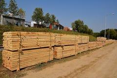 Pilhas de madeira serrada dimensional do corte áspero imagem de stock royalty free