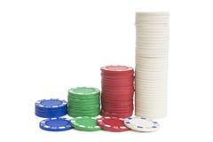 4 pilhas de microplaquetas de póquer Imagens de Stock