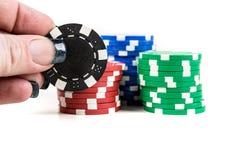 Pilhas de microplaquetas de póquer Fotografia de Stock