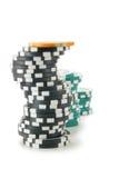 Pilhas de microplaquetas do casino Fotografia de Stock Royalty Free