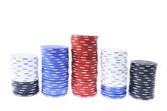 Pilhas de microplaquetas do póquer Foto de Stock