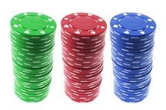 Pilhas de microplaquetas do póquer Imagens de Stock