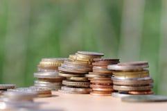 Pilhas de moedas Fotos de Stock