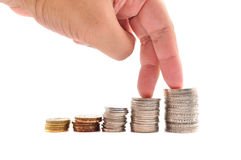 Pilhas de moedas Foto de Stock