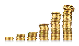 Pilhas de moedas de ouro Imagens de Stock Royalty Free
