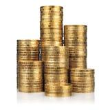 Pilhas de moedas de ouro Imagem de Stock Royalty Free