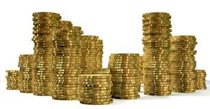 Pilhas de moedas de ouro Fotos de Stock