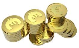 Pilhas de moedas de ouro isoladas no branco Imagens de Stock Royalty Free