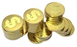 Pilhas de moedas de ouro isoladas no branco Fotos de Stock