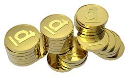 Pilhas de moedas de ouro isoladas no branco Foto de Stock