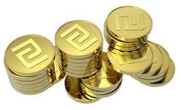 Pilhas de moedas de ouro isoladas no branco Imagens de Stock