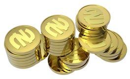 Pilhas de moedas de ouro isoladas no branco Imagem de Stock Royalty Free