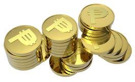 Pilhas de moedas de ouro isoladas no branco Fotos de Stock Royalty Free
