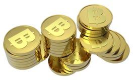 Pilhas de moedas de ouro isoladas no branco Foto de Stock Royalty Free