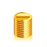 Pilhas de moedas de ouro Vetor Imagens de Stock Royalty Free