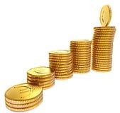 Pilhas de moedas do EURO do ouro Foto de Stock