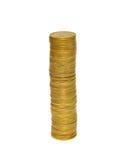 Pilhas de moedas douradas. fotografia de stock royalty free