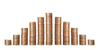 Pilhas de moedas no branco Pena, eyeglasses e gr?ficos imagem de stock royalty free