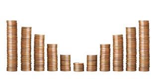 Pilhas de moedas no fundo branco foto de stock royalty free