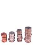 Pilhas de nós moedas Foto de Stock
